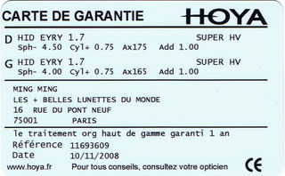 Carte de Garantie Hoya Recto