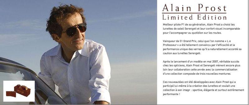 Alain Prost parternaire des lunettes Serengeti