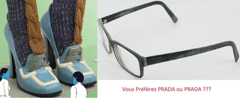 Chaussures Prada et lunettes Prada quel rapport