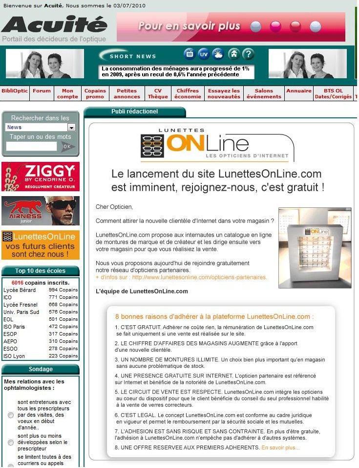 Proposition de lunette on line www.lunettesonline.com aux opticiens