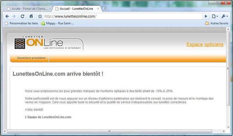Proposition de lunette on line www.lunettesonline.com aux consomateurs 1