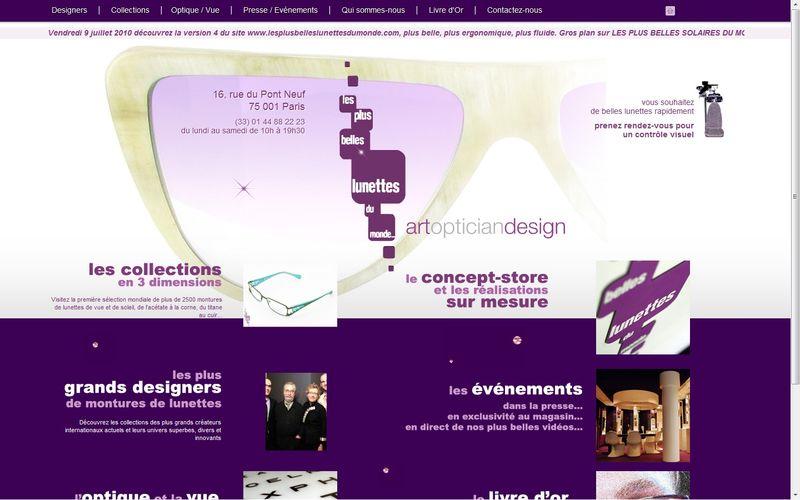 Page d'acceuil du site de l opticien à Paris Les Plus Belles Lunettes du Monde Version 4