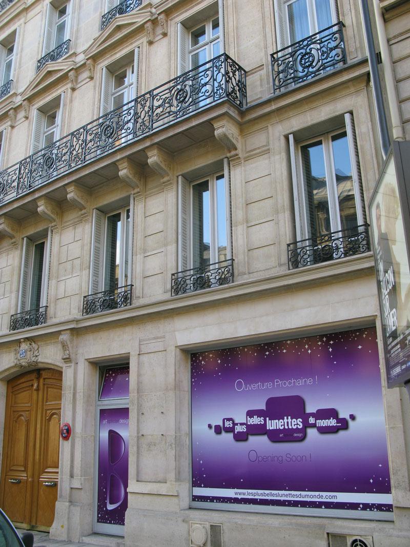 Le futur Concept Store Les Plus Belles Lunettes du Monde rue François 1er à Paris